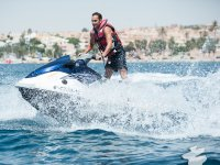 Trying out the jet-ski on the coast of Mazarrón