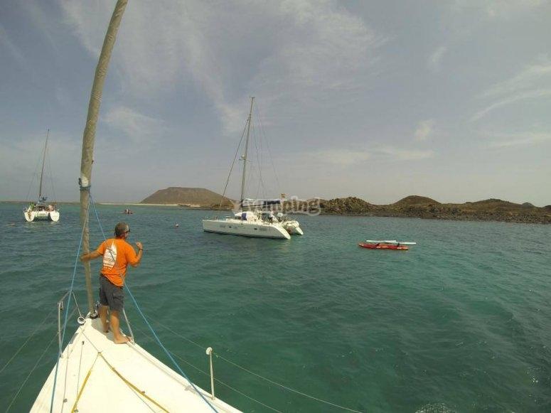 vigilando el catamaran