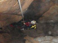 Rapel into the cave