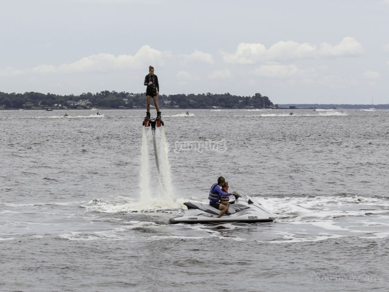 Trying the Flyboard out
