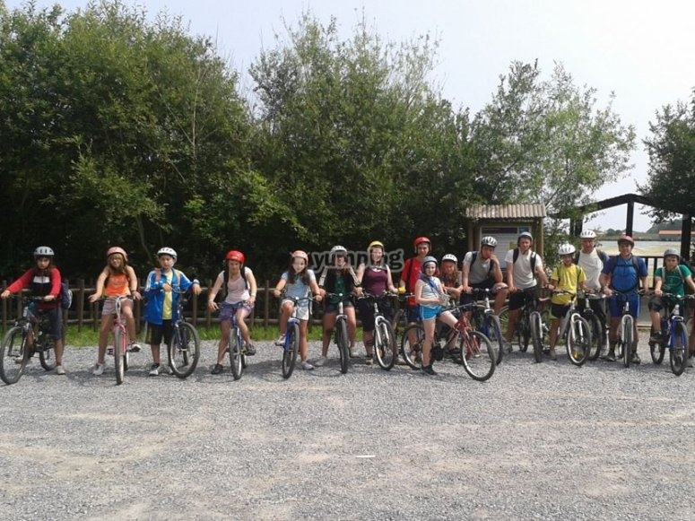 Ciclistas en las bicis