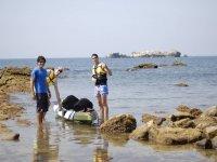 Kayak con marea baja