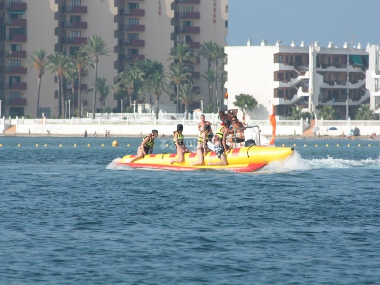 At top speed on the banana in La Manga