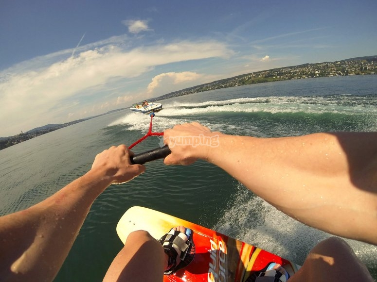 Practising wakeboard