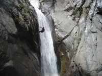 Rappelling a waterfall