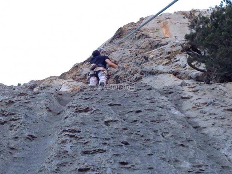 Practising climbing in Ibiza