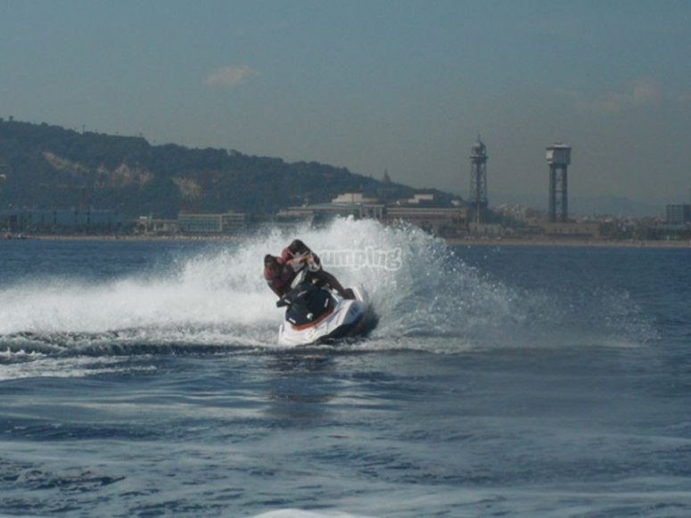 Enjoying about the aquatics motos in Barcelona