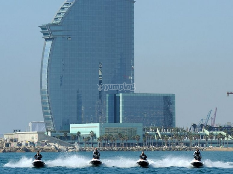 Doing a route into Barcelona on water moto