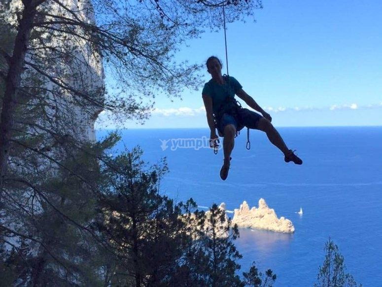 practicing climbing in the Ibiza mounts