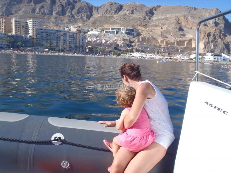 Desde el barco con la peque