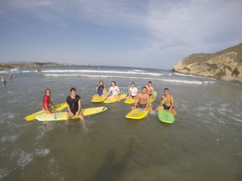 Surfing in Calabardina beach