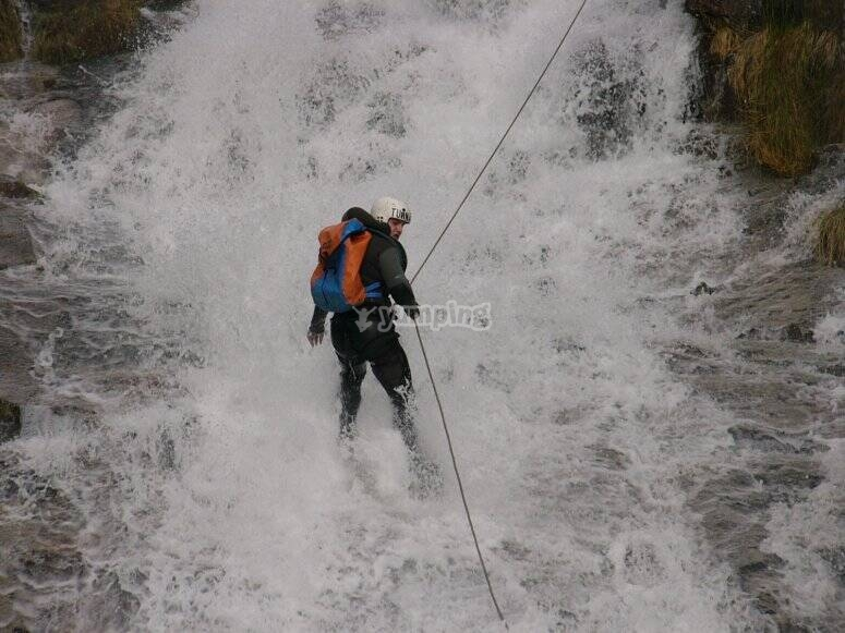 Canyoning activity with abseiling