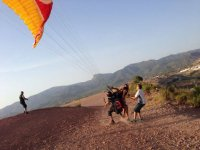 Before taking off with the paraglide