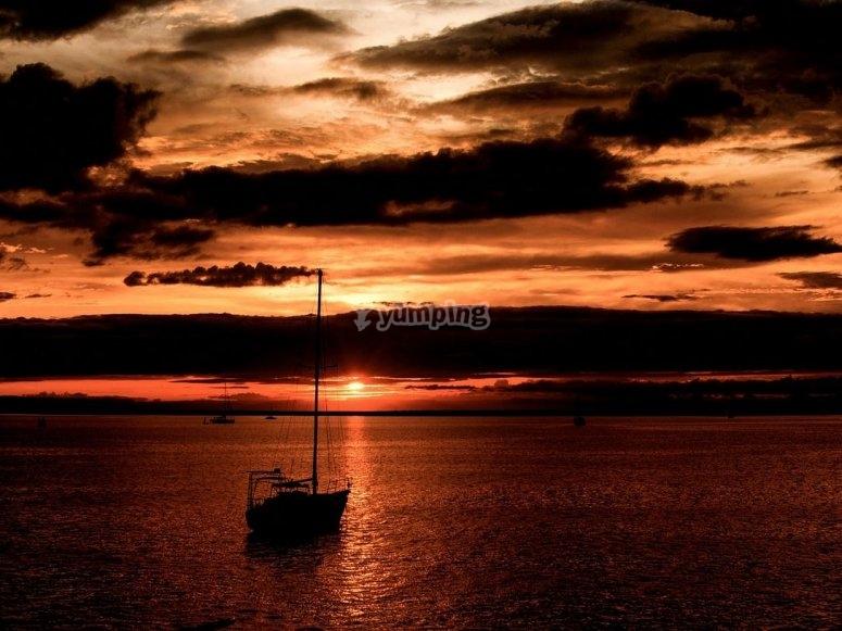Crepuscolo sulla barca
