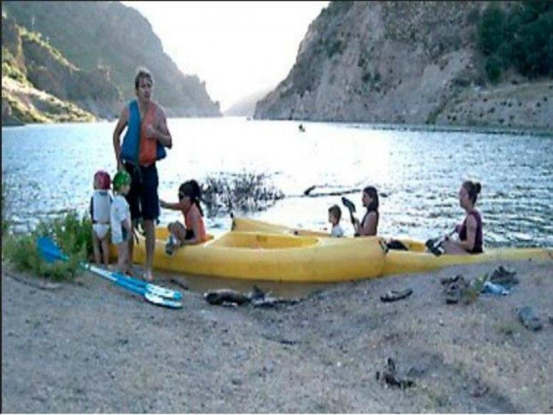 antes de comenzar la ruta en canoa