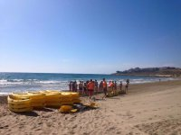 Preparing to go out in sea kayaks