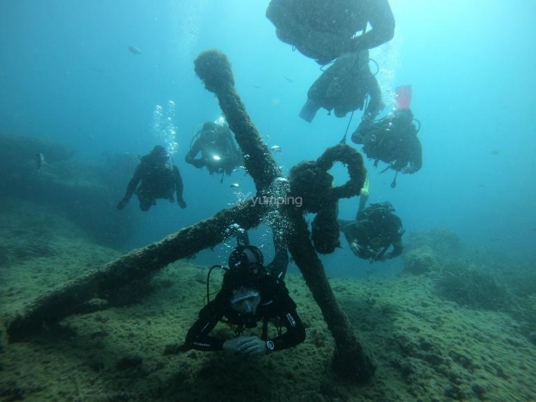 Buceando entre restos marinos