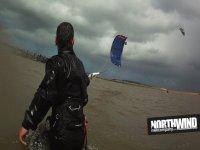 Practicing kitesurfing