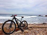 海边停靠的自行车