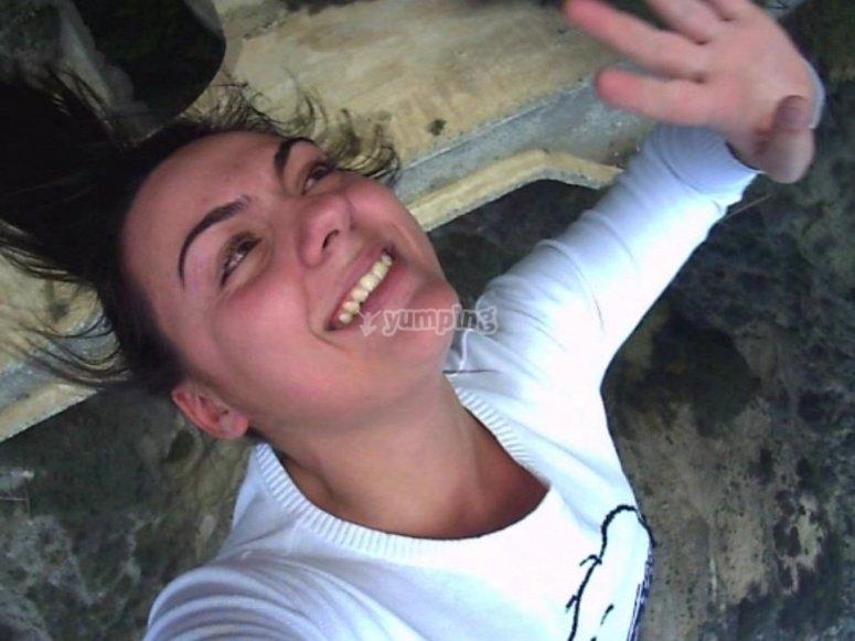 El momento exacto del salto en Lanjarón
