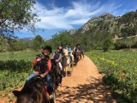 Little ones in a horseback route