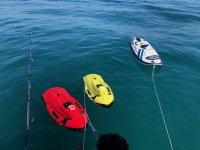 Flota de seabobs en el Puerto Marítimo de Benalmádena