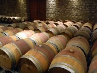 Barriles de vino almacenados