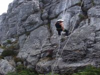 Rappelling in the mountains