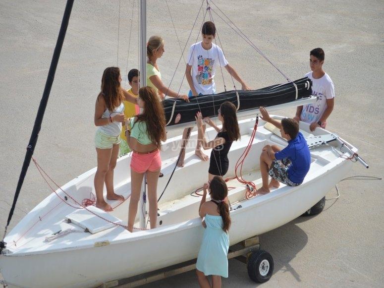 Preparando la embarcacion