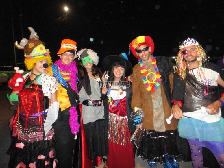 Costume party in the campsite