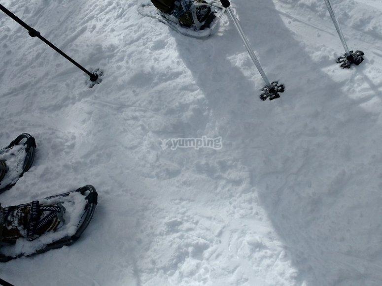 在雪地里支撑手杖