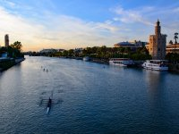 Kayaks al atardecer en Sevilla