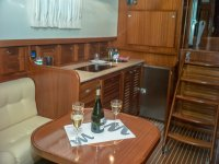 Interior of the boat with 2 glasses of champagne