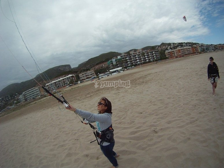 学习控制在土地巴塞罗那风筝