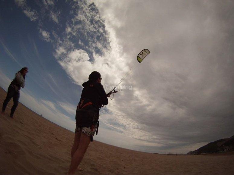 在Castelldefels放风筝