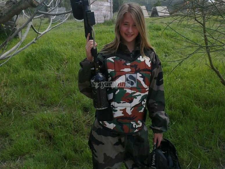 Equipped with the paintball gun