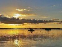 Barcos al atardecer en Ibiza