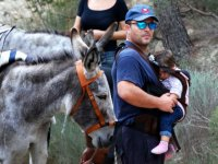 With the baby next to the donkey