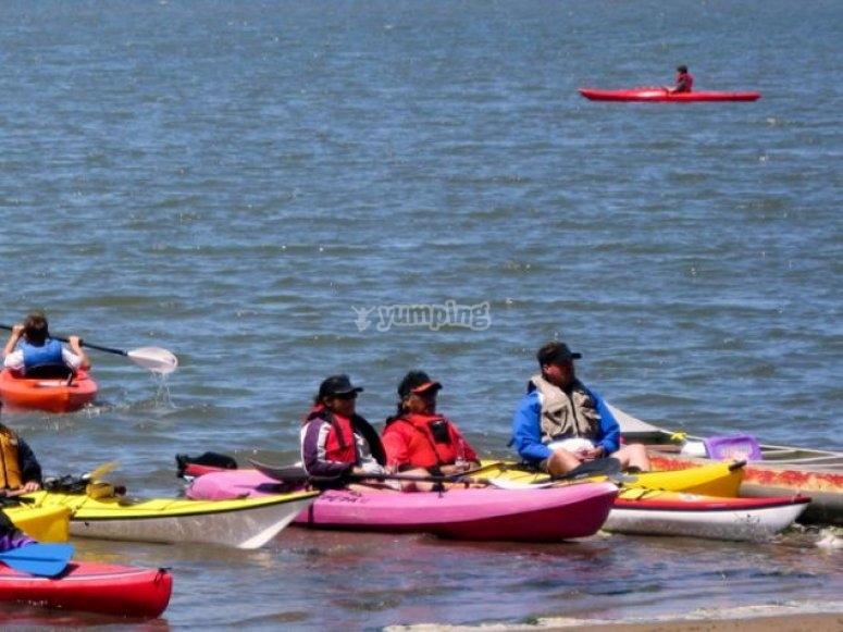 canoe raggiungendo la riva