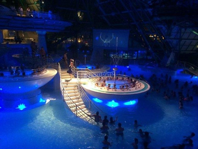 Thermal spa at night
