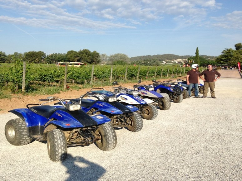 Quads parked in a row