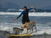 Compartiendo surf con el perro