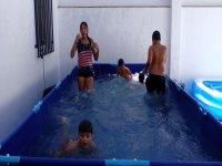 En la piscina del patio