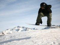 Practising snowboard