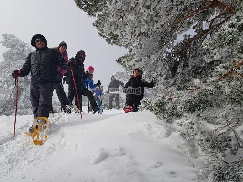 Snow rackets route Sierra Nevada