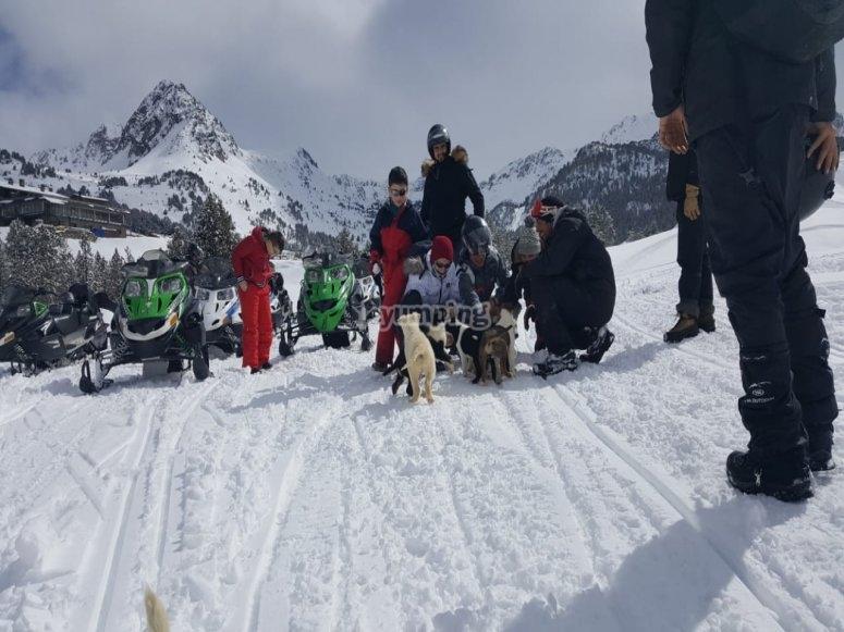 Giornata sulla neve in famiglia con i nostri husky