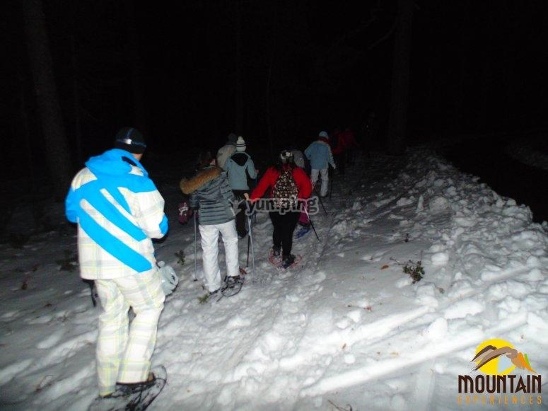 雪鞋路线在晚上