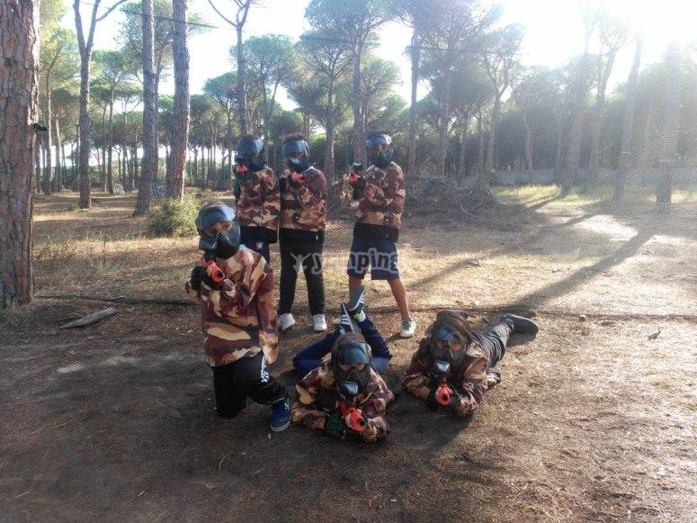 Paintball infantil entre pinares en Cádiz