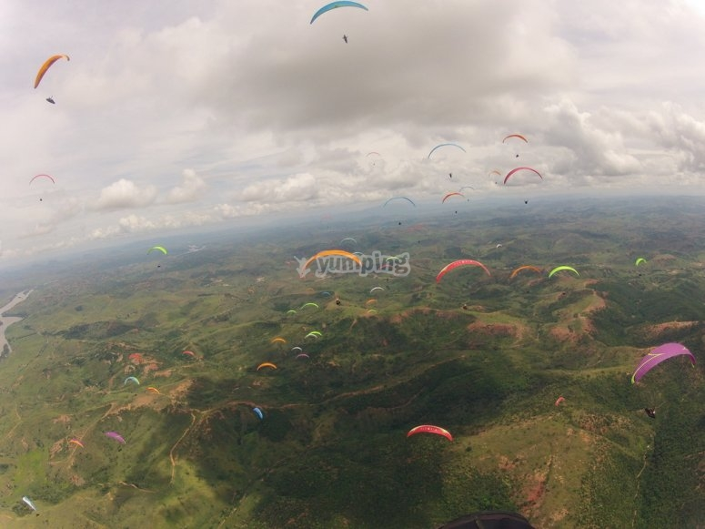 Group of paragliders together