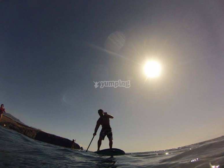 Clase de paddle surf en Gran Canaria